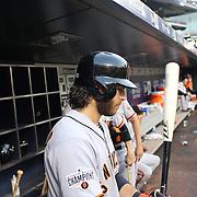 Brandon Crawford, San Francisco Giants, preparing to bat during the New York Mets Vs San Francisco Giants MLB regular season baseball game at Citi Field, Queens, New York. USA. 11th June 2015. Photo Tim Clayton