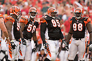 KANSAS CITY, MO - SEPTEMBER 10:  Defensive players of the Cincinnati Bengals during a game against the Kansas City Chiefs on September 10, 2006 at Arrowhead Stadium in Kansas City, Missouri.  The Bengals won 23 to 10.  (Photo by Wesley Hitt/Getty Images)***Local Caption***Bengals defense