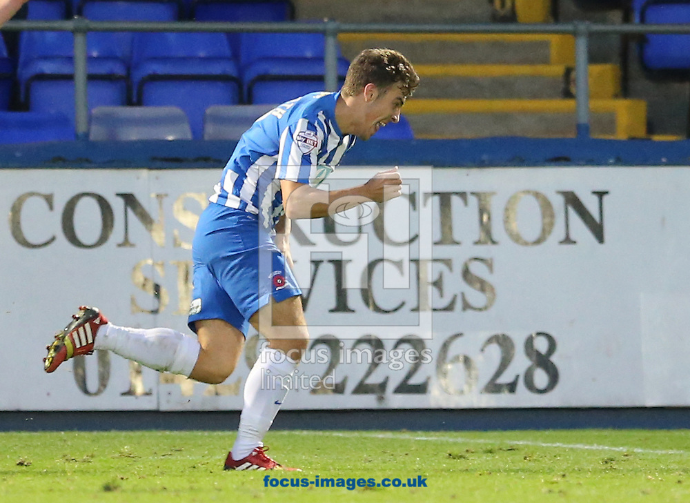 Michael Duckworth of Hartlepool United celebrates scoring to make 2-2 during the Sky Bet League 2 match at Victoria Park, Hartlepool<br /> Picture by Simon Moore/Focus Images Ltd 07807 671782<br /> 01/11/2014
