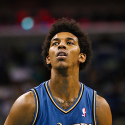 February 1, 2011; New Orleans, LA, USA; Washington Wizards shooting guard Nick Young (1) against the New Orleans Hornets during the second half at the New Orleans Arena. The Hornets defeated the Wizards 97-89.  Mandatory Credit: Derick E. Hingle