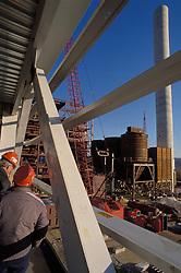 Industrial construction workers  steel beams