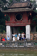 Tourists at the Temple of Literature (Van Mieu).