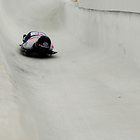 27 February 2007:  Shelley Rudman of Great Britain slides through curve 13 and a 9th place finish in the 4th run at the Women's Skeleton World Championships competition on February 27 at the Olympic Sports Complex in Lake Placid, NY.