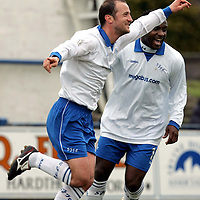 Queen of the South v St Johnstone.....15.04.06<br />Paul Sheerin celebrates his goal with Jason Scotland<br /><br />Picture by Graeme Hart.<br />Copyright Perthshire Picture Agency<br />Tel: 01738 623350  Mobile: 07990 594431