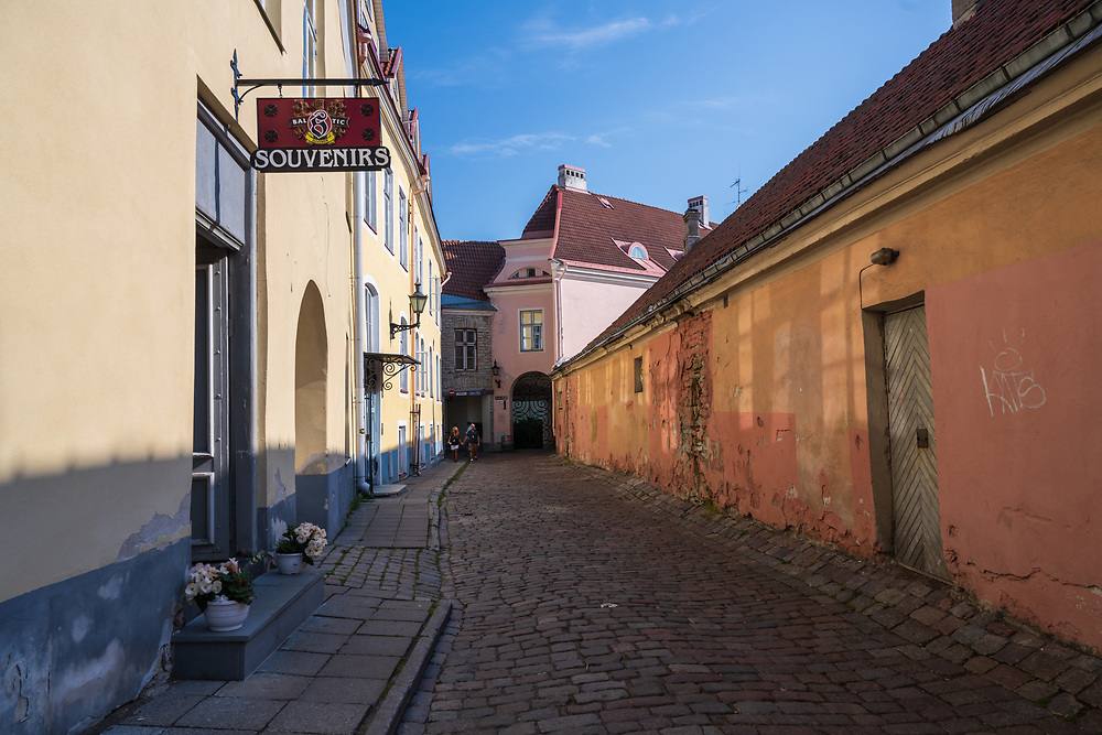 Tallinn, Estonia -- July 23, 2019. Photo of a side street in Tallin, Estonia.