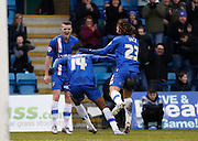Gillingham forward Dominic Samuel celebrates his goal with teammates during the Sky Bet League 1 match between Gillingham and Barnsley at the MEMS Priestfield Stadium, Gillingham, England on 13 February 2016. Photo by Andy Walter.