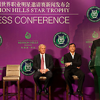 HAIKOU, CHINA - MARCH 18:  Tenniel Chu, Executive Director of Mission Hills Golf Club (R) speach next to Fan Xiao-jun, Vice Chairman of China Golf Association and Director of Department of Culture Radio Television Publication and Sports of Hainan Province (L), Greg Norman, Tournament Ambassador (2nd L) and Zhang Lian-wei, invited Pro for the Star Trophy attend the press conference for launching of the Mission Hills Star Trophy wich will be played from October 28-31 at the newly launched Mission Hills Resort Hainan on March 18, 2010 in Haikou, China.  Photo by Victor Fraile / studioEAST