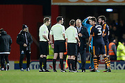 Newcastle team manager Rafael Benítez chats with game officials after the match during the EFL Sky Bet Championship match between Brentford and Newcastle United at Griffin Park, London, England on 14 January 2017. Photo by Jarrod Moore.