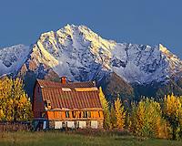 Colony barn in front of Pioneer Peak; Matanuska-Susitna Valley Alaska