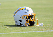 Aug 14, 2019; Costa Mesa, CA, USA: Detailed view of Los Angeles Chargers helmet during training camp at the Jack Hammett Sports Complex.