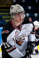 KELOWNA, CANADA - MARCH 15: Trent Lofthouse #25 of the Vancouver Giants warms up against the Kelowna Rockets on March 15, 2014 at Prospera Place in Kelowna, British Columbia, Canada.   (Photo by Marissa Baecker/Getty Images)  *** Local Caption *** Trent Lofthouse;