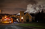 Emissions from the Clairton Plant behind a church in Clairton, Pennsylvania.