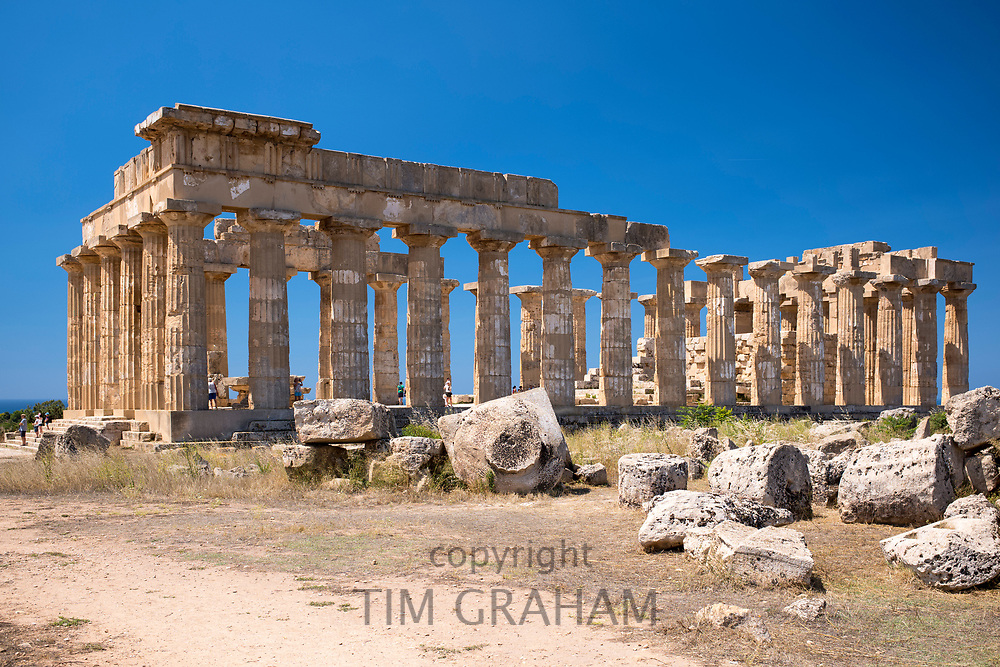 Ruins of ancient temples at Selinunte in Sicily, Italy - the largest archeological park in Europe.