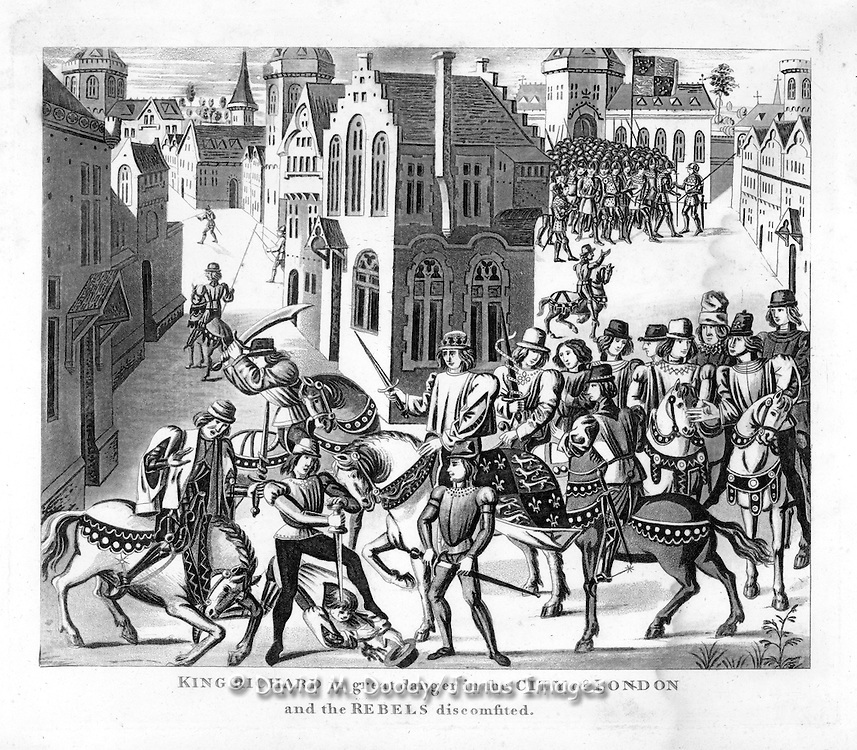 "woodcut ""King Richard in great danger in the City of London and the rebels discomfited"" From  ""Chronicles of England"" 1806 by Froissart"