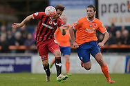Johnny Mullins of Oxford United looks to get past Michael Cheek of Braintree Town during the FA Cup match between Braintree Town and Oxford United at the Avanti Stadium, Braintree<br /> Picture by Richard Blaxall/Focus Images Ltd +44 7853 364624<br /> 08/11/2015