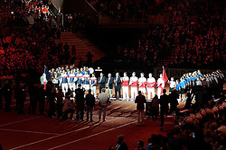 21.11.2014, Stade Pierre Mauroy, Lille, FRA, Davis Cup Finale, Frankreich vs Schweiz, im Bild Die beiden Teams bei der Eroeffnungssow // during the Davis Cup Final between France and Switzerland at the Stade Pierre Mauroy in Lille, France on 2014/11/21. EXPA Pictures © 2014, PhotoCredit: EXPA/ Freshfocus/ Daniela Frutiger<br /> <br /> *****ATTENTION - for AUT, SLO, CRO, SRB, BIH, MAZ only*****