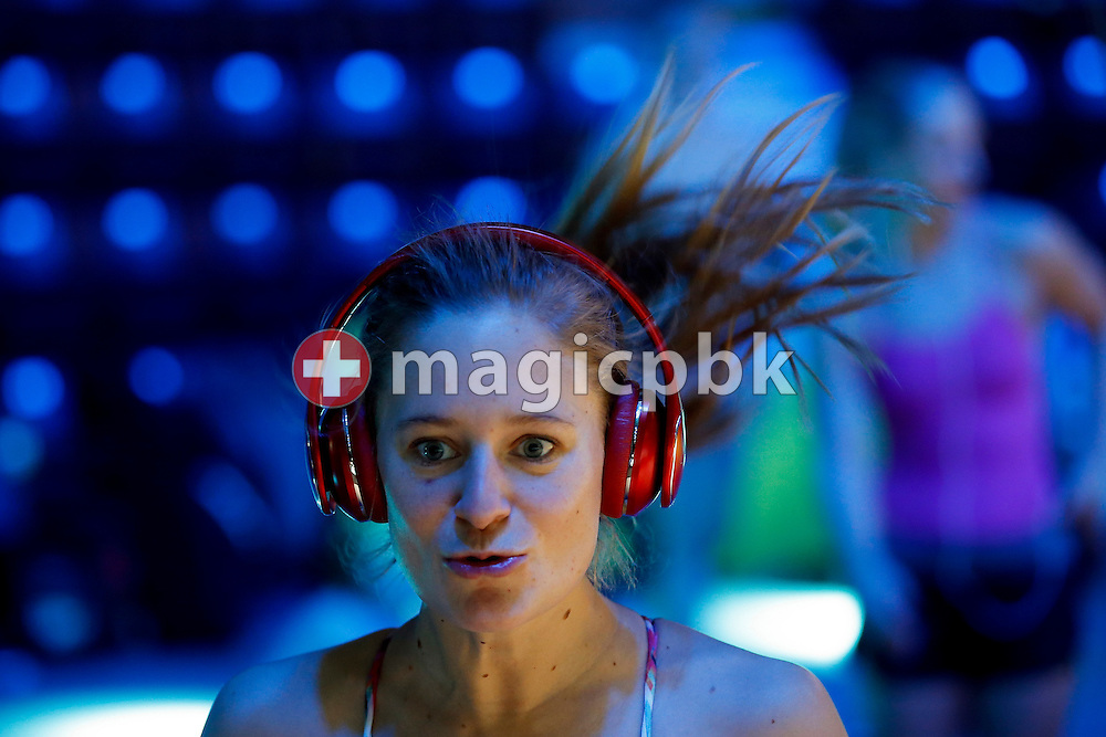 (EDITOR'S NOTE: BLUE LIGHTS WERE TURNED ON IN THE VENUE) Martina VAN BERKEL of Switzerland warms herself up during a training session 2 days prior to the start of the 13th Fina World Short Course Swimming Championships held at the WFCU Centre in Windsor, Ontario, Canada, Sunday, Dec. 4, 2016. (Photo by Patrick B. Kraemer / MAGICPBK)