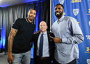 Mick Cronin (center) poses with Cincinnati and NBA star Kenyon Martin (left) and Ronald Allen, who played for Cronin at Cincinnati from 2005 to 2007, after Cronin was introduced as the UCLA Bruins new head basketball coach at a news conference on the campus in Los Angeles Wednesday, April 10, 2019. Cronin was hired as UCLA's basketball coach Tuesday, ending a bumpy, months-long search to find a replacement for the fired Steve Alford. The university said Cronin agreed to a $24 million, six-year deal. (Dylan Stewart/Image of Sport)