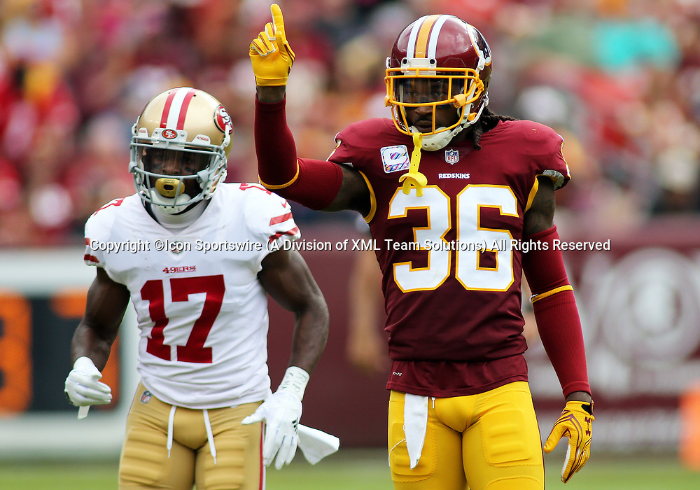 COLLEGE PARK, MD - OCTOBER 15: Washington Redskins free safety D.J. Swearinger (36) wags his finger after making a defensive play during a match between the Washington Redskins and the San Francisco 49ers on October 15, 2017, at FedExField in Landover, MD. (Photo by Daniel Kucin Jr./Icon Sportswire)