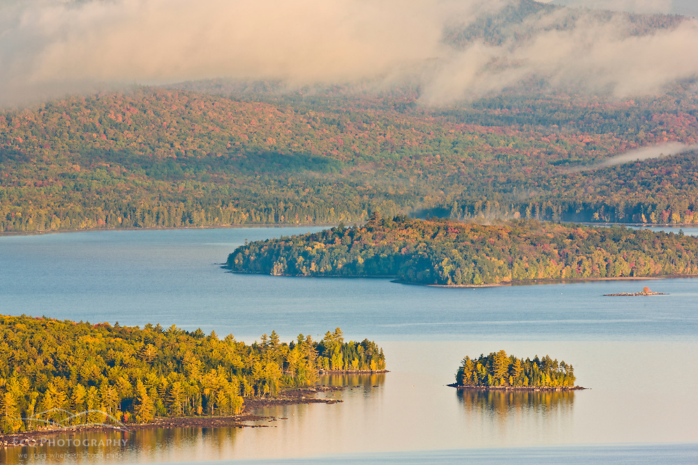 Mooselookmeguntic Lake as seen from the Appalachian Trail at the Height of Land overlook on ME 17, in Rangeley, Maine. Fall.