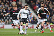 Derby County forward Tom Lawrence on the ball during the EFL Sky Bet Championship match between Derby County and Bolton Wanderers at the Pride Park, Derby, England on 13 April 2019.
