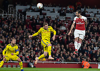Football - 2018 / 2019 UEFA Europa League - Round of Thirty-Two, Second Leg: Arsenal (0) vs. BATE Borisov (1)<br /> <br /> Henrikh Mkhitaryan (Arsenal FC) glances his header wide of the goal at The Emirates.<br /> <br /> COLORSPORT/DANIEL BEARHAM