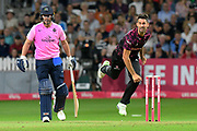 Tim Groenewald of Somerset bowling during the Vitality T20 Blast South Group match between Somerset County Cricket Club and Middlesex County Cricket Club at the Cooper Associates County Ground, Taunton, United Kingdom on 30 August 2019.
