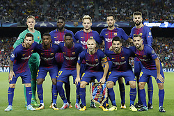 (Top Row L-R) goalkeeper Marc-Andre ter Stegen of FC Barcelona, Samuel Umtiti of FC Barcelona, Ivan Rakitic of FC Barcelona, Sergio Busquets of FC Barcelona, Gerard Pique of FC Barcelona<br />