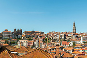 Elevated city view of Porto, Portugal. Looking north from Cathedral Hill
