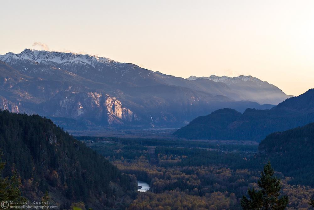 Sunset on the Stawamus Chief in Squamish, British Columbia, Canada