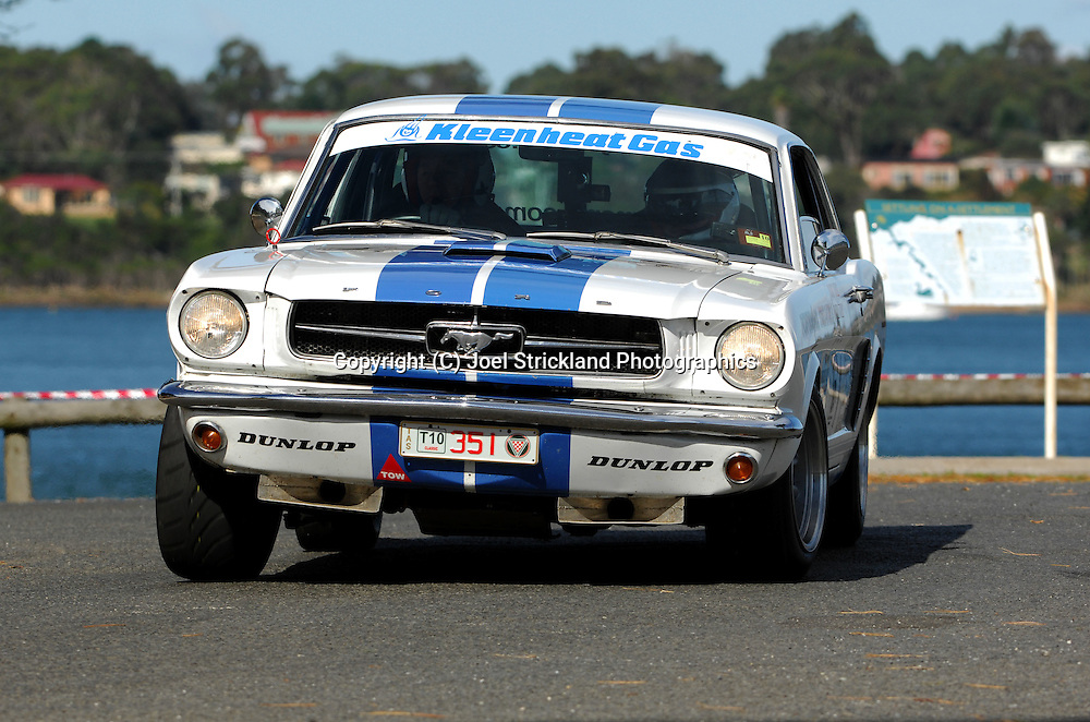 #351 - Scott Kent & Wayne Kent - 1965 Ford Mustang.Prologue.George Town.Targa Tasmania 2010.27th of April 2010.(C) Joel Strickland Photographics.Use information: This image is intended for Editorial use only (e.g. news or commentary, print or electronic). Any commercial or promotional use requires additional clearance.