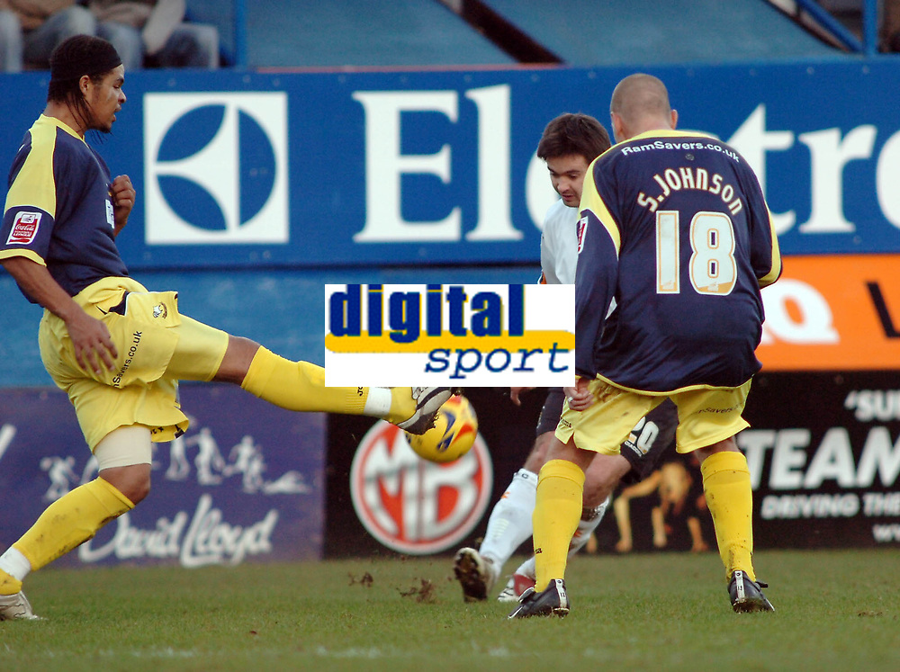 Photo: Kevin Poolman.<br />Luton Town v Derby County. Coca Cola Championship. 18/11/2006. Luton's Adam Boyd can't find a way through Derby's Dean Leacock and Seth Johnson.