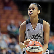 UNCASVILLE, CONNECTICUT- MAY 05:  Moriah Jefferson #4 of the San Antonio Stars in action during the San Antonio Stars Vs Connecticut Sun preseason WNBA game at Mohegan Sun Arena on May 05, 2016 in Uncasville, Connecticut. (Photo by Tim Clayton/Corbis via Getty Images)