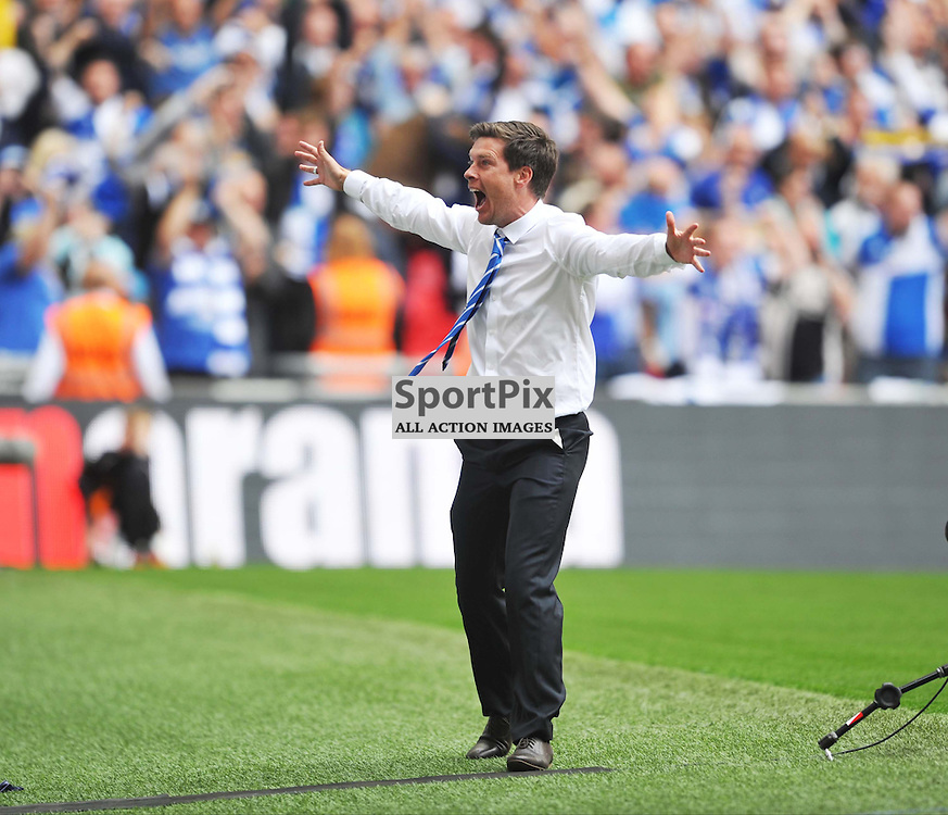 Bristol Rovers Manager Darrell Clarke celebrates to the Bristol Fans, Bristol Rovers v Grimsby, Vanaama Conference Final, Wembley, Sunday 17th May 2015