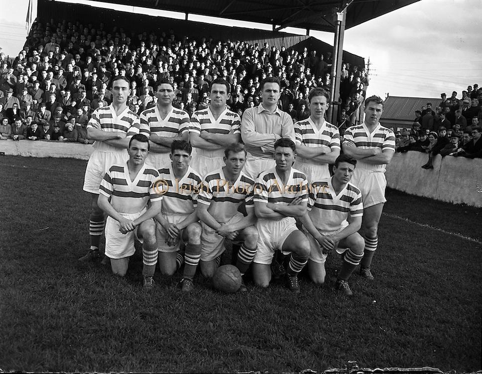 02/11/1957<br /> 11/02/1957<br /> 02 November 1957<br /> Soccer: Limerick v Shamrock Rovers at Glenmalure Park, Milltown, Dublin. The Shamrock Rovers team.