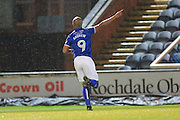 GOAL Calvin Andrew celebrates scoring 3-0 during the EFL Sky Bet League 1 match between Rochdale and Scunthorpe United at Spotland, Rochdale, England on 10 December 2016. Photo by Daniel Youngs.