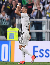 TURIN, Oct. 21, 2018  Juventus' Cristiano Ronaldo celebrates his goal during an Italian Serie A soccer match between FC Juventus and Genoa in Turin, Italy, Oct. 20, 2018. The match ended 1-1. (Credit Image: © Alberto Lingria/Xinhua via ZUMA Wire)