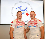 Thomas Burgess (left) with George Burgess during the official launch of the England Rugby League Remembrance Shirt at Imperial War Museum North, Trafford Park, Manchester<br /> Picture by Steve McCormick/Focus Images Ltd 07545 862647<br /> 15/10/2018