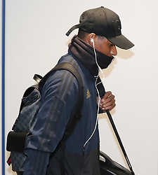 Marcus Rashford of Manchester United is spotted on his way to catch a flight as the team fly to Turin on Tuesday afternoon to play Juventus in The Champions League on Wednesday night.
