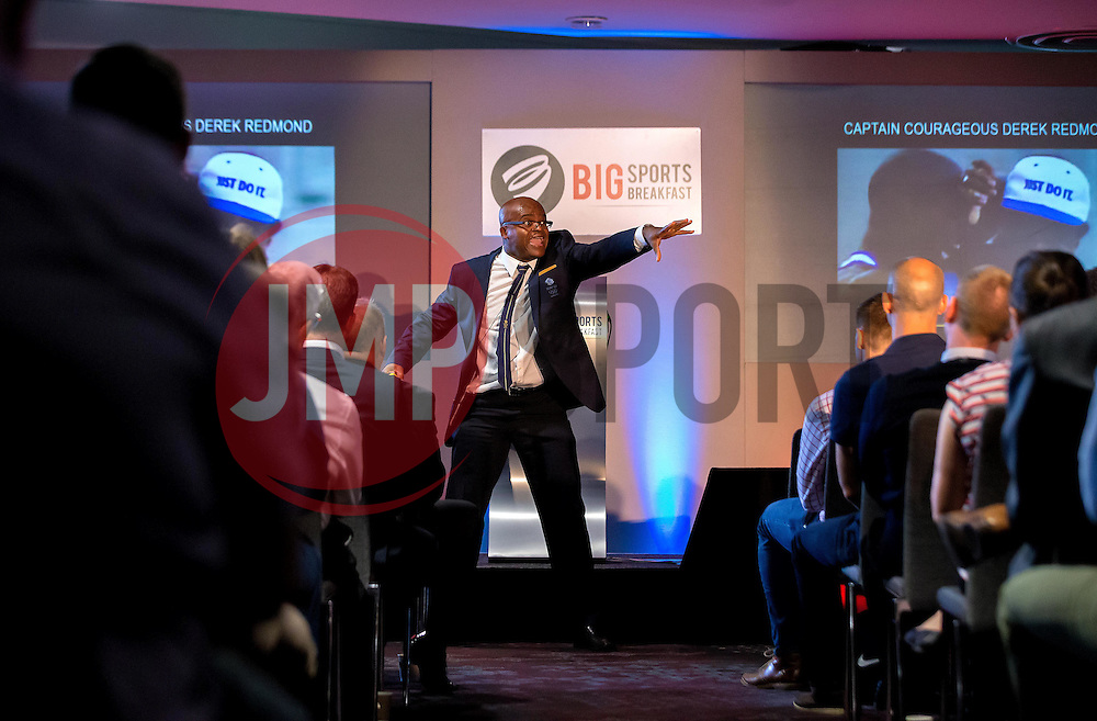 An animated Kriss Akabusi gives a talk at The Bristol Sport Big Breakfast - Mandatory by-line: Robbie Stephenson/JMP - 29/07/2016 - FOOTBALL - Ashton Gate - Bristol, England - Bristol Sport Big Breakfast - Kriss Akabusi