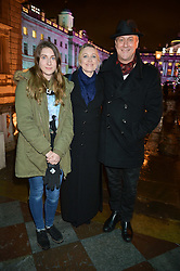 STEPHEN TOMPKINSON, his partner ELAINE YOUNG and daughter DAISY TOMPKINSON at Skate At Somerset House with Fortnum & Mason on 16th November 2016.