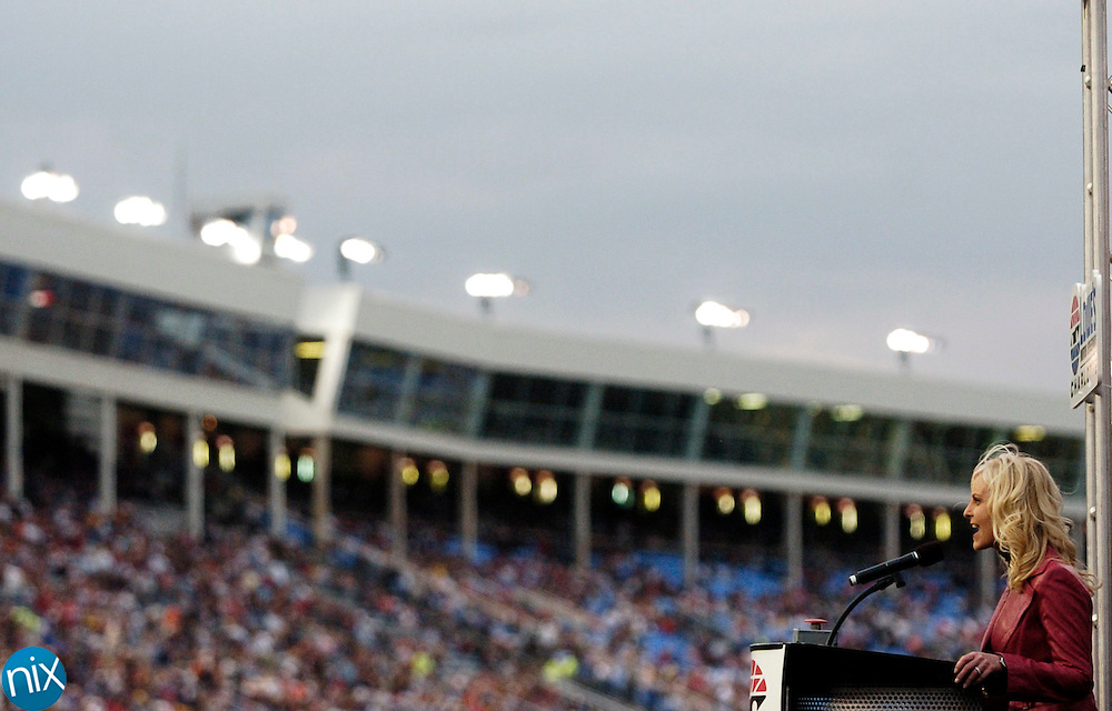 Cindy McCain, wife of Republican Presidential candidate John McCain, address the crowd prior to the Bank of America 500 at Lowe's Motor Speedway Saturday, Oct. 11, 2008. (photo by James Nix)