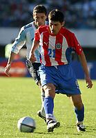 Fotball<br /> Paraguay<br /> Foto: Argenpress/Digitalsport<br /> NORWAY ONLY<br /> <br /> VM-kvalifisering<br /> 06.06.2004<br /> Argentina v Paraguay<br /> <br /> CRISTIAN GONZALEZ (ARG), DENIS CANIZA (PAR)