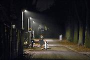 Nederland, the Netherlands, Nijmegen, 31-10-2015 Kamp, tentenkamp Heumensoord, de tijdelijke noodopvang, azc, van het COA. Plaats voor 3000 asielzoekers. In de avond zijn nog veel mensen buiten. Een afrikaanse moeder en kind lopen langs het hek van het kamp naar de ingang.FOTO: FLIP FRANSSEN
