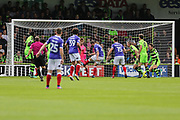 Exeter City's Pierce Sweeney(2) shoots at goal scores a goal 0-1 during the EFL Sky Bet League 2 match between Forest Green Rovers and Exeter City at the New Lawn, Forest Green, United Kingdom on 9 September 2017. Photo by Shane Healey.