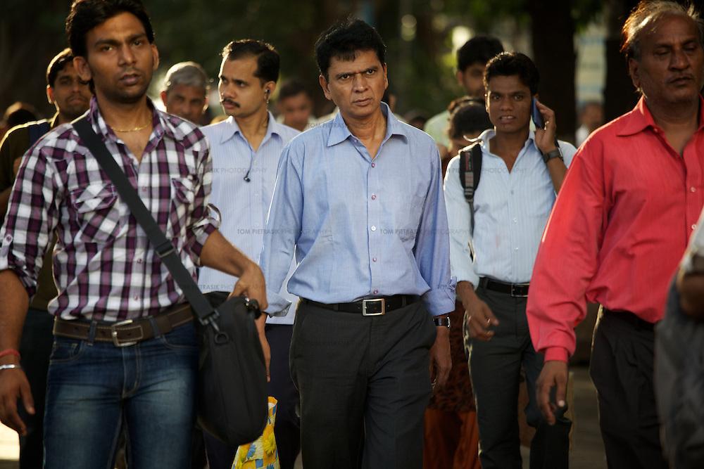 Office workers, Mumbai. ..Photo: Tom Pietrasik.Mumbai, India. 2011