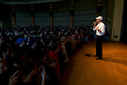 Beto O'Rourke takes the stage during a campaign stop in State College, PA on March 19, 2019. The candidate from El Paso, TX is the first Democratic candidate to campaign in the Keystone State during a multi-day, multi-state road trip that includes stops in Iowa, Pennsylvania and New Hampshire.