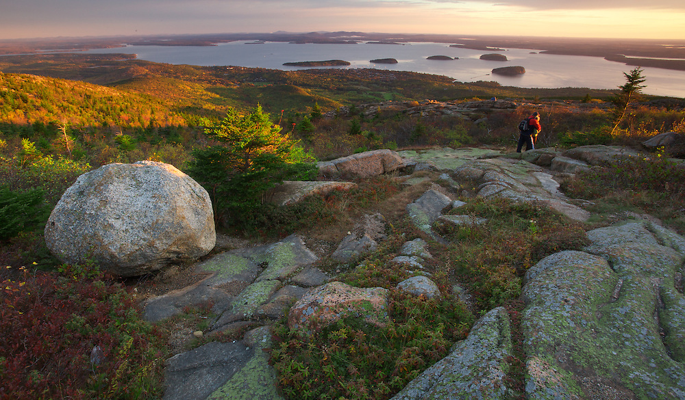 Welcoming the dawn on Cadillac Mountain in Acadia National Park, Maine should be on everybody's Bucket List. Here, you can see the town of Bar Harbor and the islands of Frenchman's Bay.