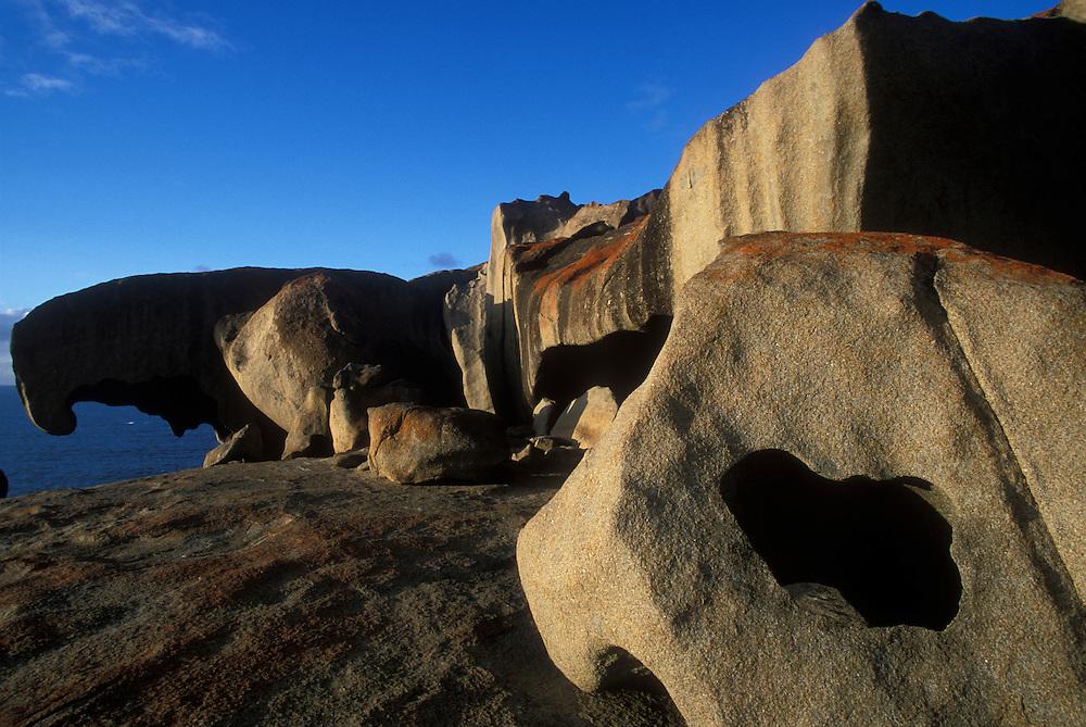 Australia, Victoria, Flinders Chase National Park , Morning sun lights  'Remarkable Rocks' on Kangaroo Island