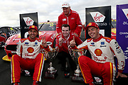 Scott McLaughlin (Shell DJR Penske Ford) with 2nd place finisher Fabian Coulthard and team boss Ryan Storey and team owner Dick Johnson. Winton Truck Assist SuperSprint -2019 Virgin Australia Supercars Championship Round 6. Winton Motor Raceway, Victoria on Sunday 26 May 2019. Photo Clay Cross / photosport.nz